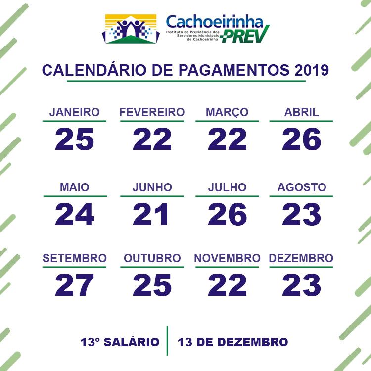 Calendário de Pagamentos 2019