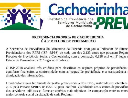Previdência Própria de Cachoeirinha é a 3ª Melhor de Pernambuco
